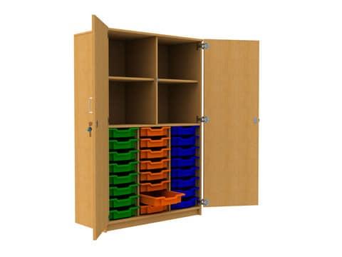 24-Plastic-Tray-Storage-Unit-with-Cupboard-Full-Door