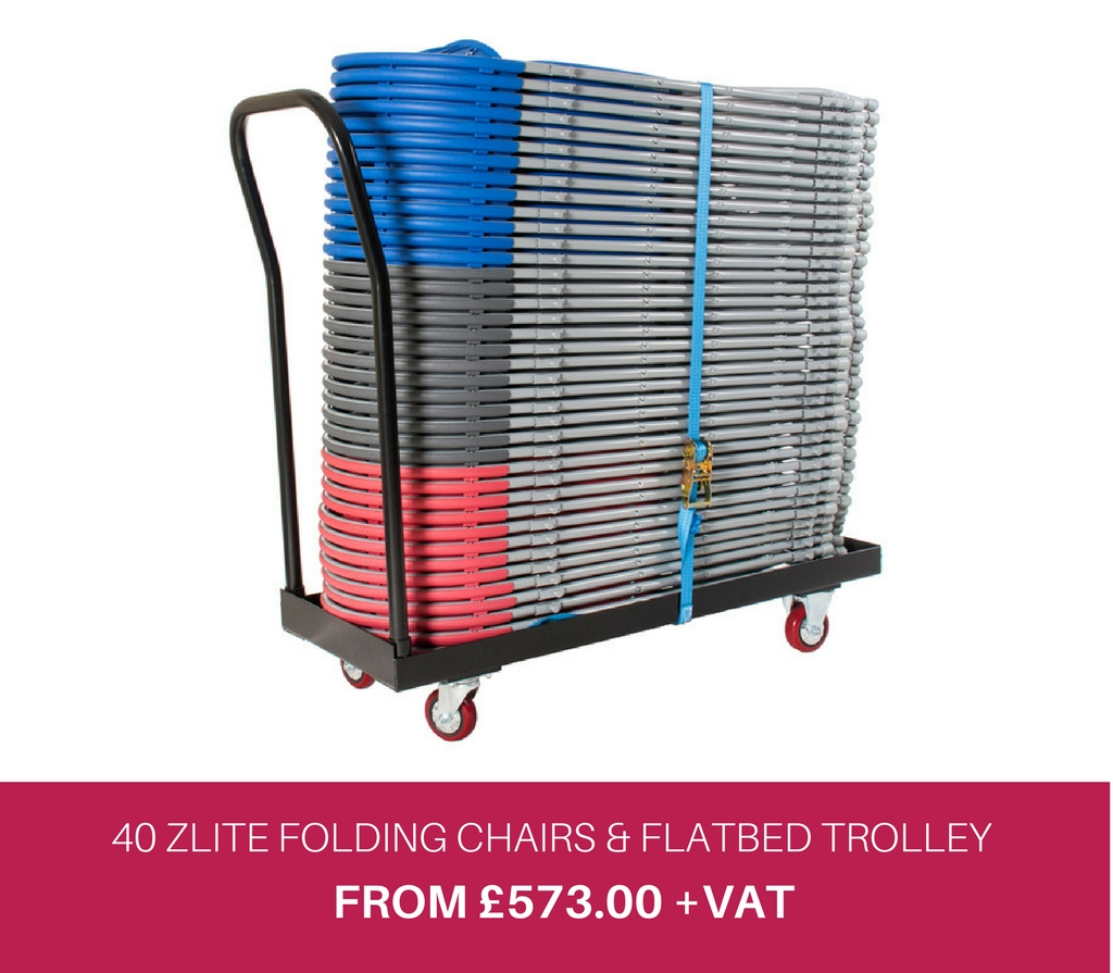 40 Zlite Folding Chairs and Flatbed Trolley Deal
