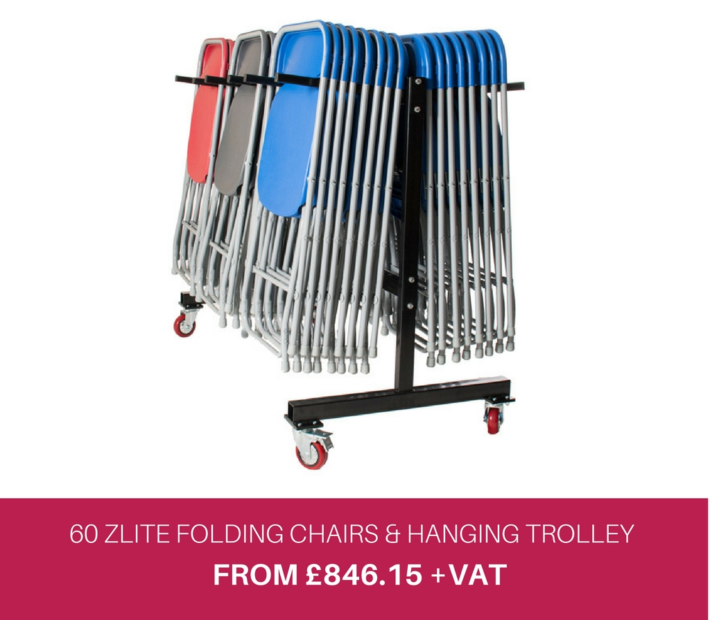 60 Zlite Folding Chairs and Hanging Trolley Offer