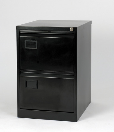 Two Drawer Black Steel Suspension Filing Cabinet Bisley AOC