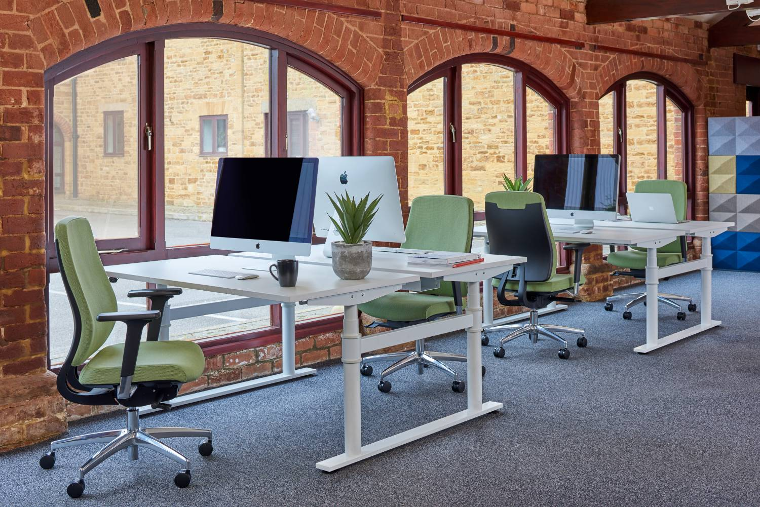 Green Task Chairs in Office