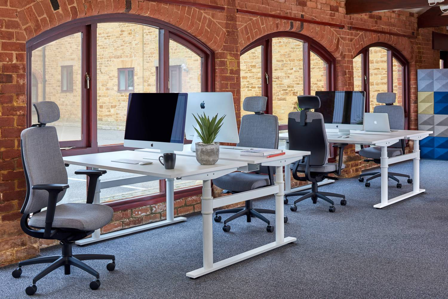 Grey Task Chairs with Headrests in Office