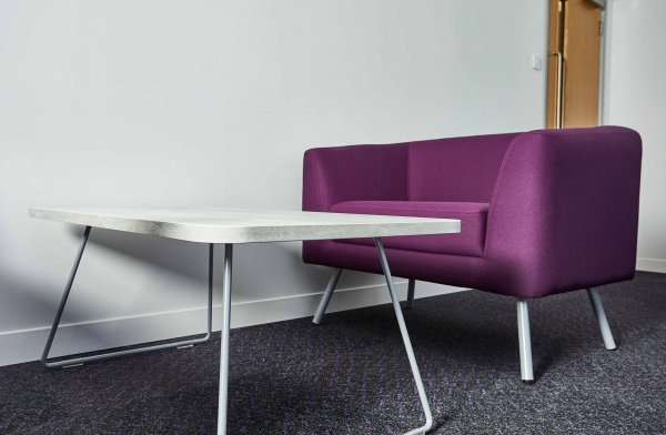 Sled Leg Lounge Table with Purple Armchair