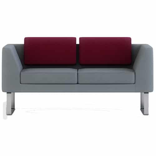 Alvier-Modern-Reception-Sofa-Grey-Red-Chrome-Sled-Legs