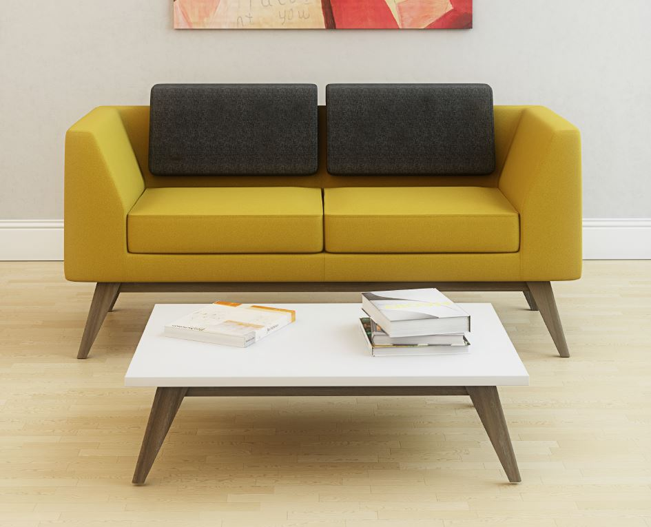 Superieur Alvier Wooden Leg Reception Sofa Yellow And Grey