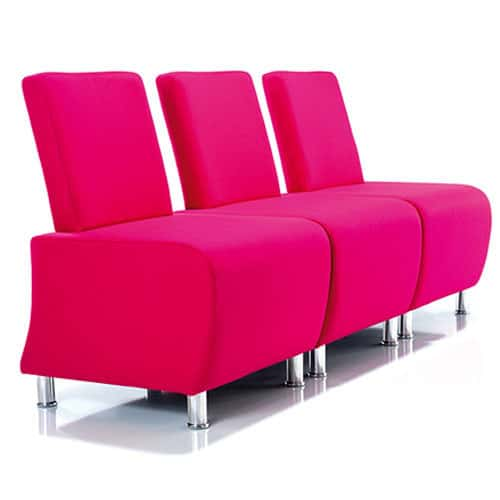 Atrium-Pink-Modular-Reception-Chairs-with-Chrome-Legs-Example-Set-Up