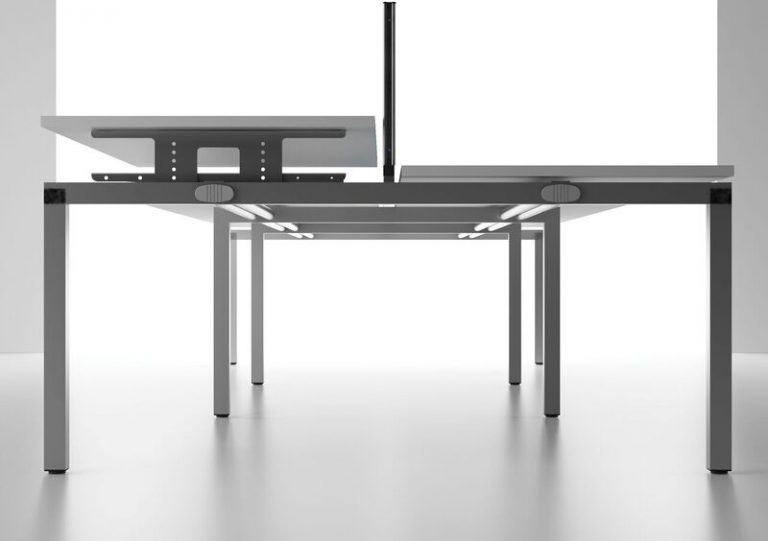 Bench² Height Adjustable Desk Side View