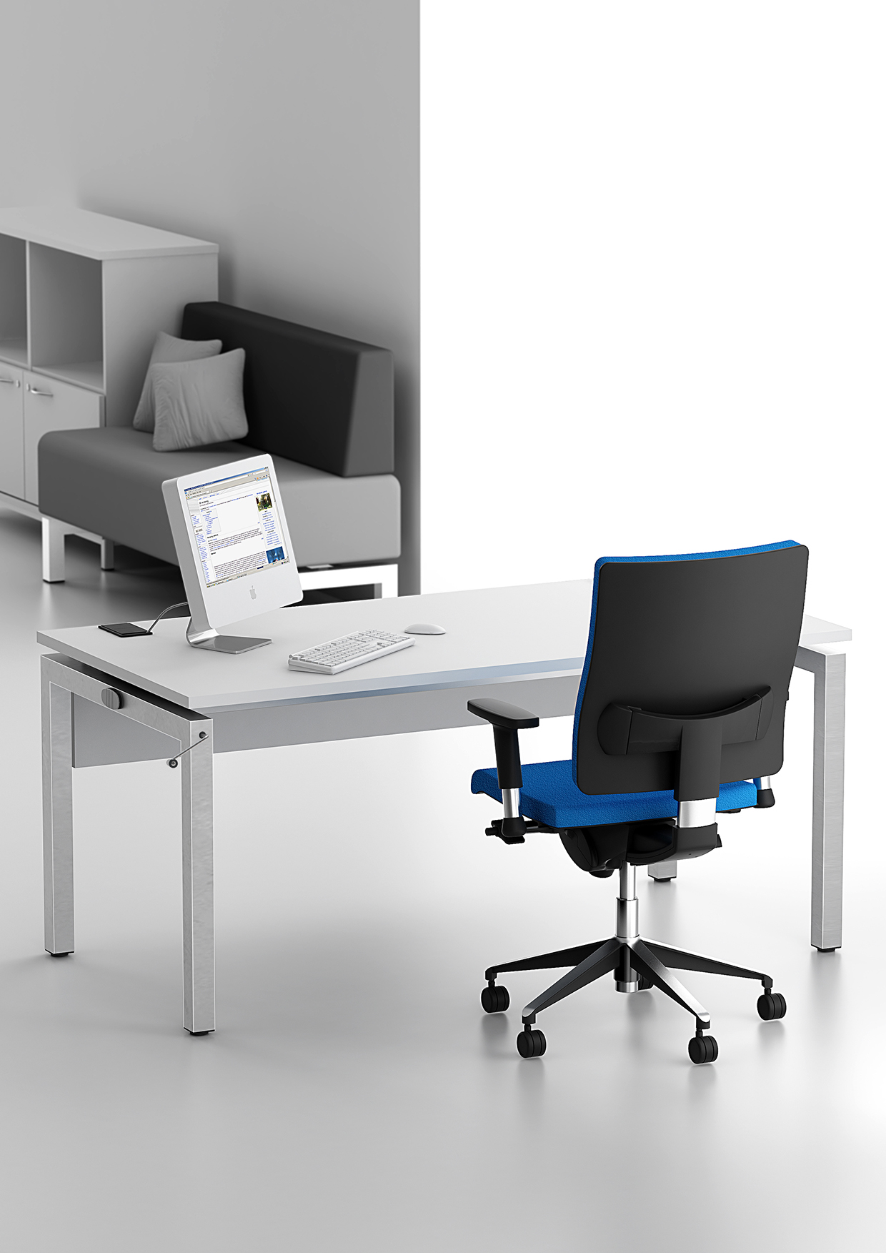 Bench² Manual-Height-Adjustable-Desks-Example-Set-Up-with-Blue-Chair