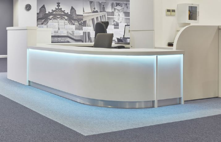 Modern Bespoke Reception Desk with Downlighting