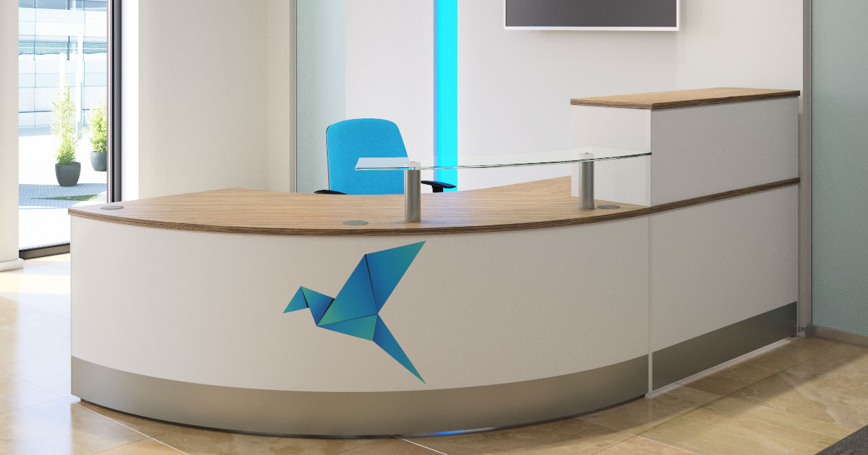 Modern Branded Reception Desk White