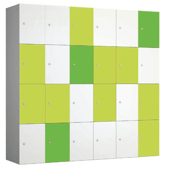 Four Door Locker Unit Green Apple Lime White