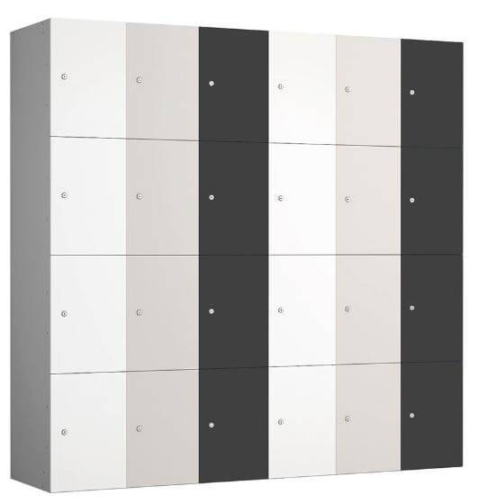 Four Compartment Locker Unit Grey Anthracite White