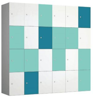 Four Compartment Lockers Turqouise Mint and White
