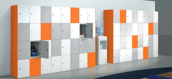Locker Unit Grey White Orange