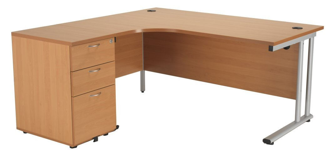 Crescent Workstation and Desk High Pedestal