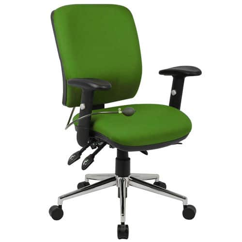 Chiro Mid Back Office Chair Inflatable Lumbar Support Green