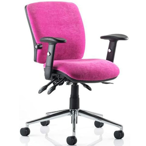 Chiro-Mid-Back-Office-Chair-Pink-With-Arms