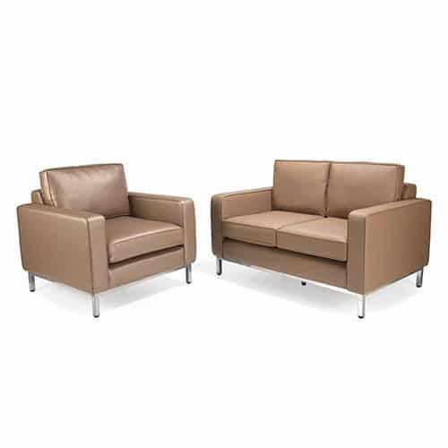 Claire-Bronze-Leather-Reception-Sofa-with-Chrome-Frame