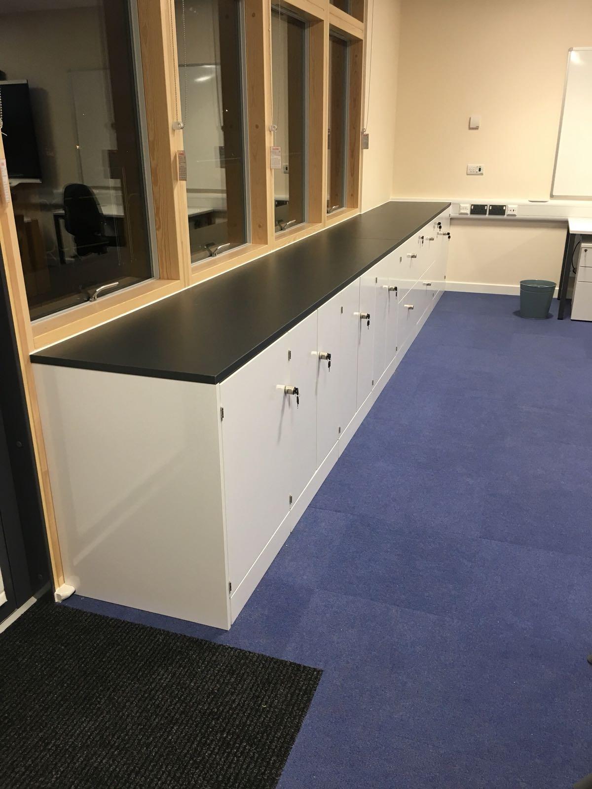 Classroom refurb storage area white gloss