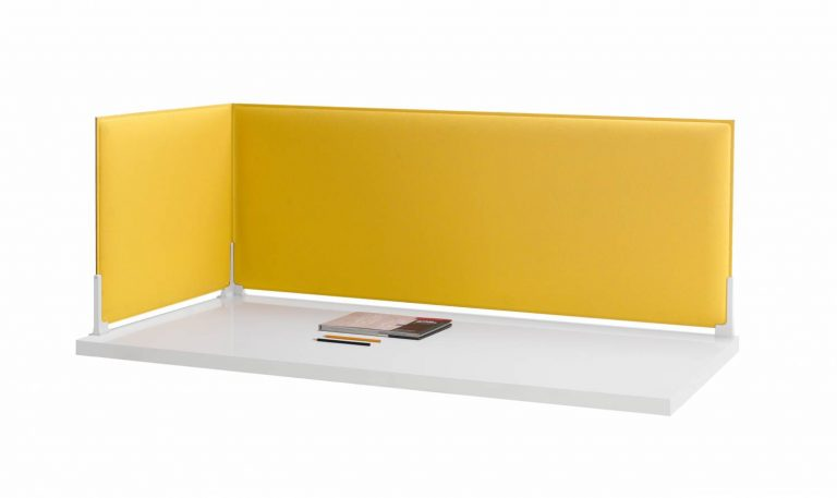 Corner Sound Absorbing Desk Divider Yellow
