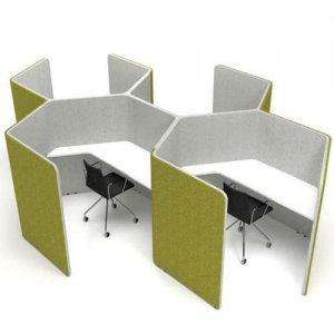 Den-Honeycomb-Hexagonal-Acoustic-Work-Pods-Green-Grey