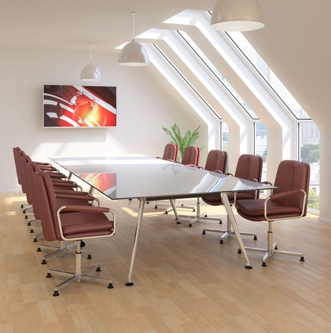 Ele-Brown-Leather-Swivel-Base-Cofnerence-Chairs-Around-Meeting-Table
