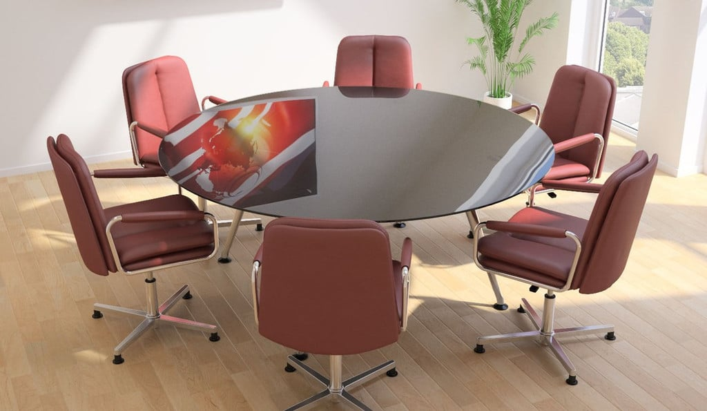 Ele-Red-Leather-Meeting-Chairs-Around-Round-Table