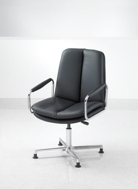 Ele-Black-Leather-Meeting-Chair-Swivel-Base