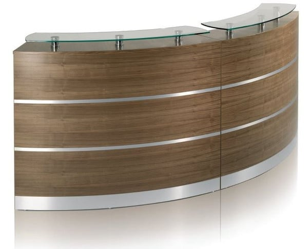Fusion-Natural-Walnut-Curved-Reception-Desk-with-Aluminium-Inlay