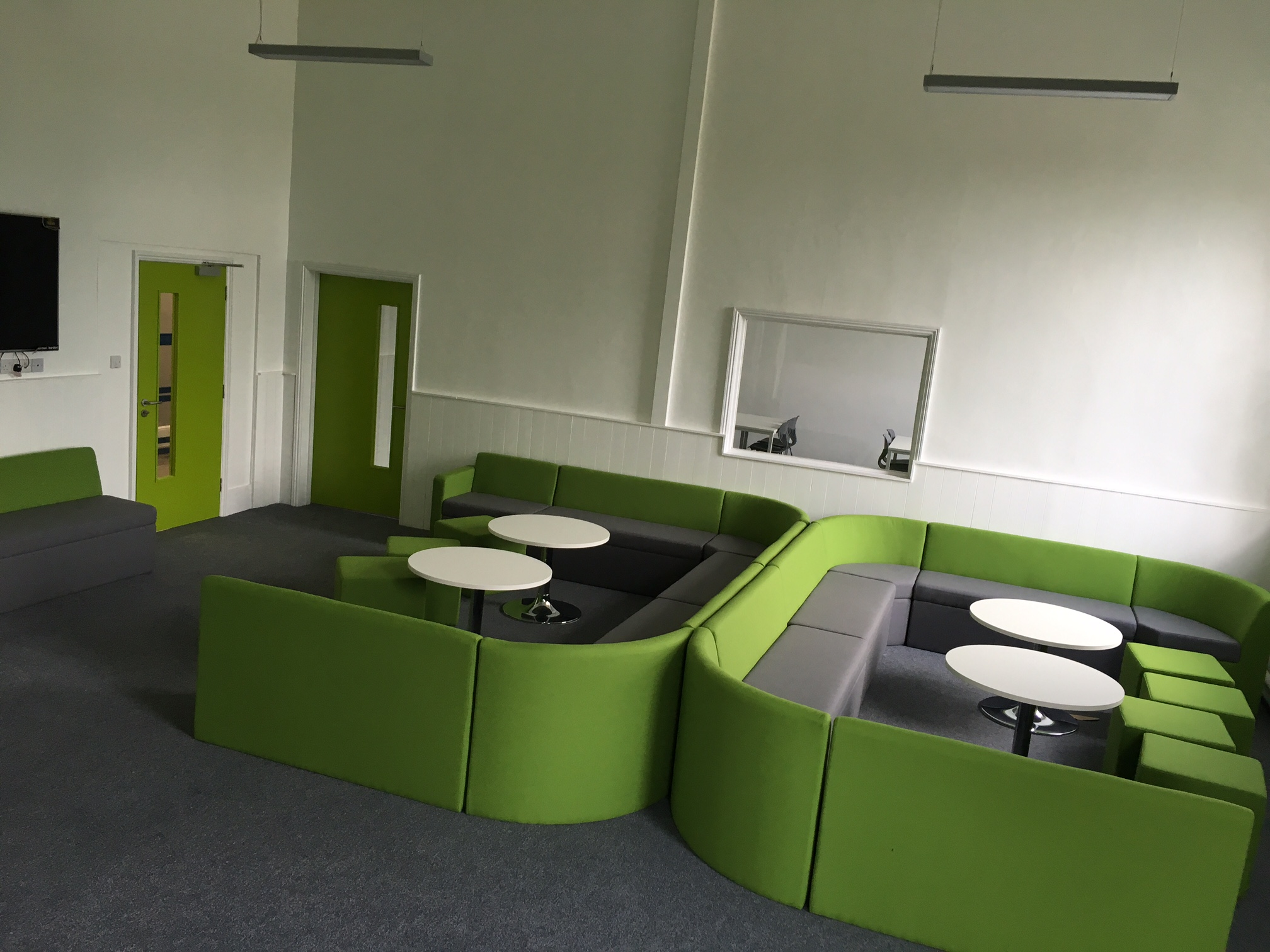 Far Soft Seating Green and Grey in Common Room