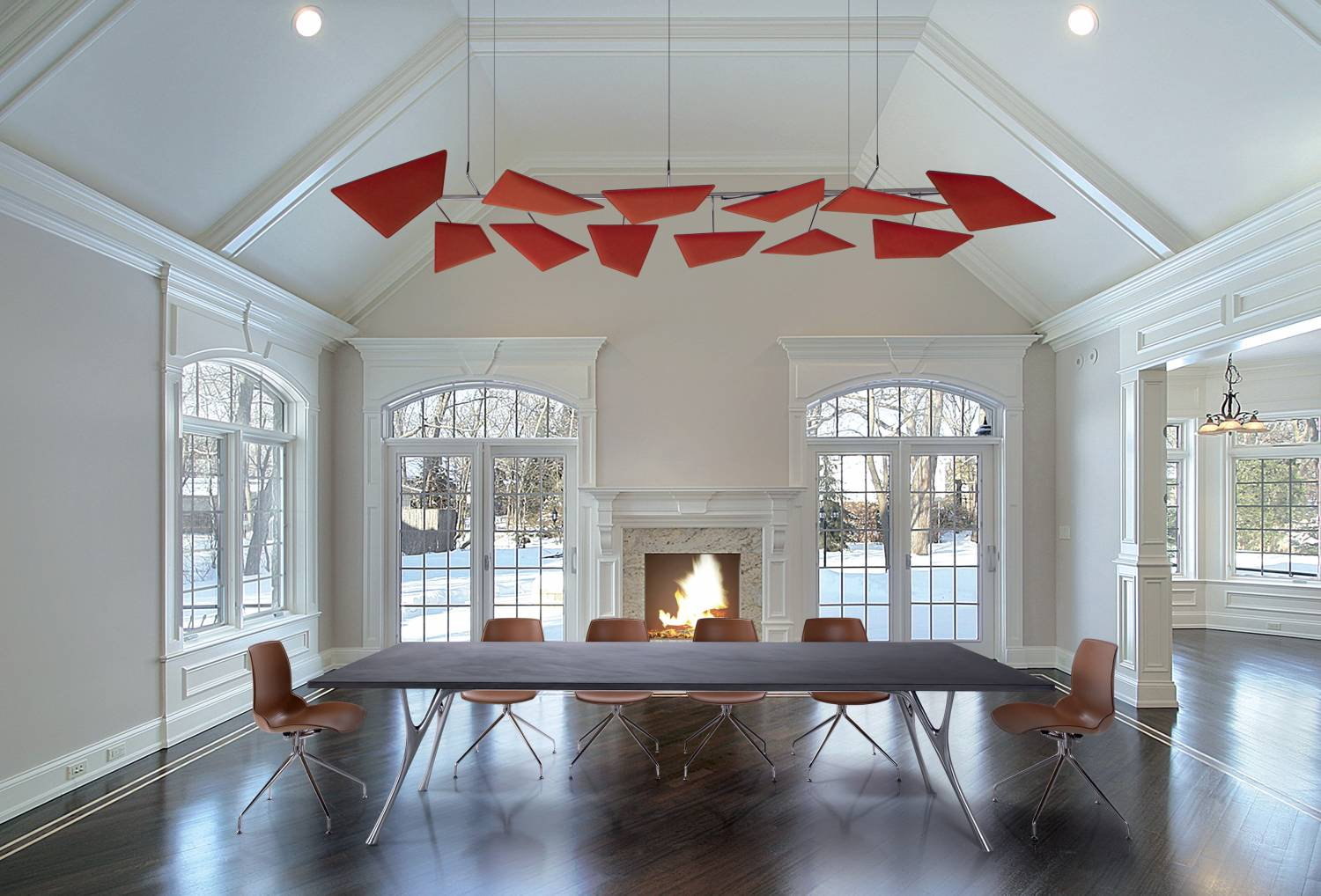 Flap-Acoustic-Panels-Suspended-From-Ceiling-In-Large-Room