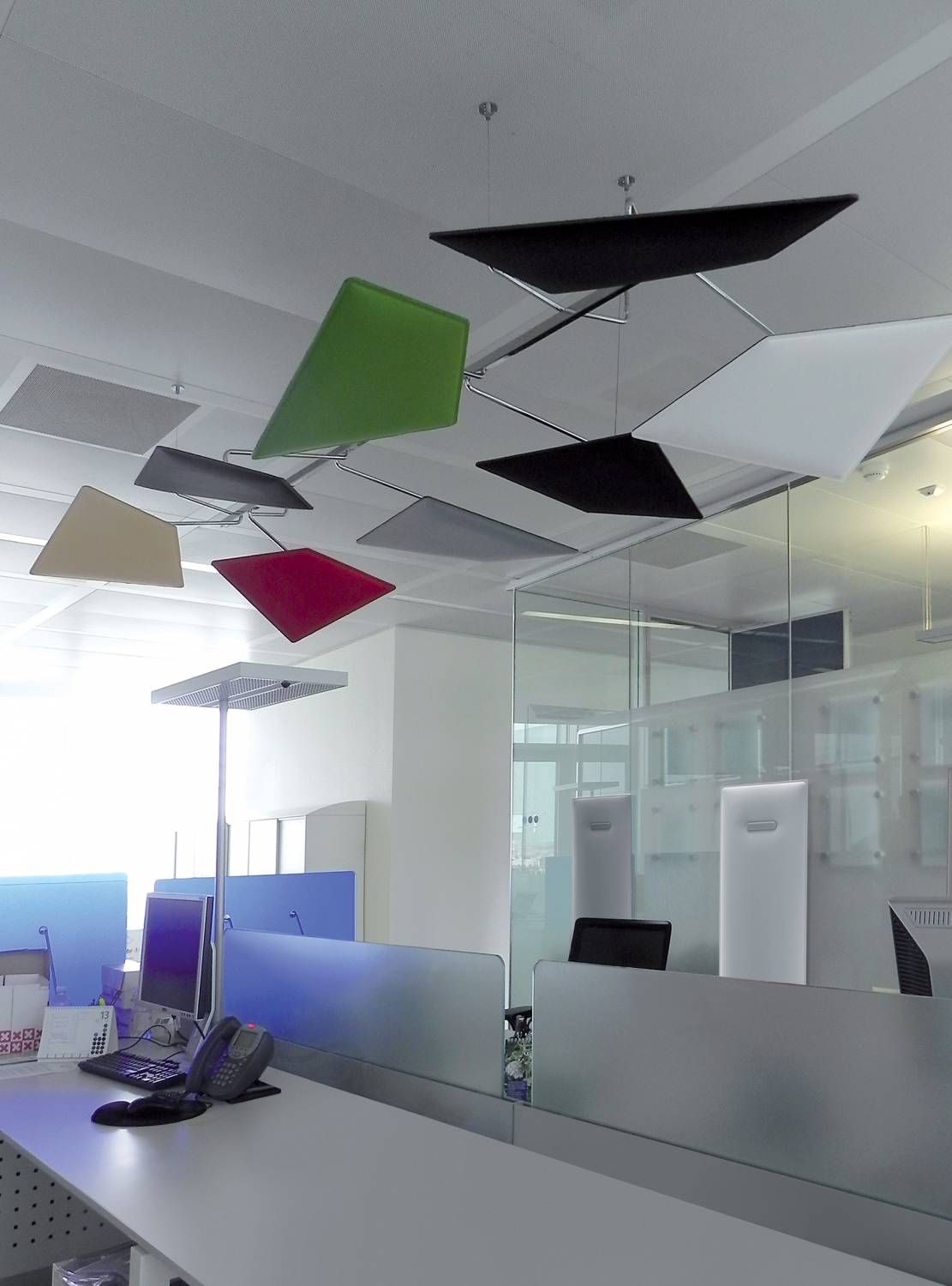 Flap-Ceiling-Mounted-Suspended-Acoustic-Panels-with-Adjustable-Hinges