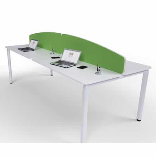 Flite-Curved-Green-Fabric-Office-Desk-Divider-White-PVC-Trim
