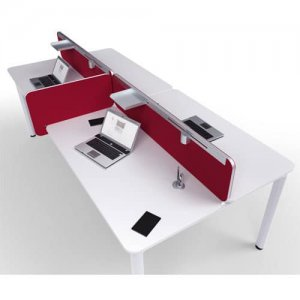 Flite-Red-Fabric-Office-Desk-Divider-Silver-PVC-Trim