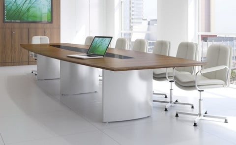Fulcrum-Gloss-White-and-Natural-Walnut-Veneer-Barrel-Top-Conference-Table-with-Wing-Base-Cable-Management-Tiles