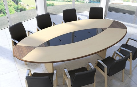 Fulcrum-Maple-Walnut-Veneer-Oval-Top-Panel-Base-Conference-Table-Glass-Cable-Management-Tiles