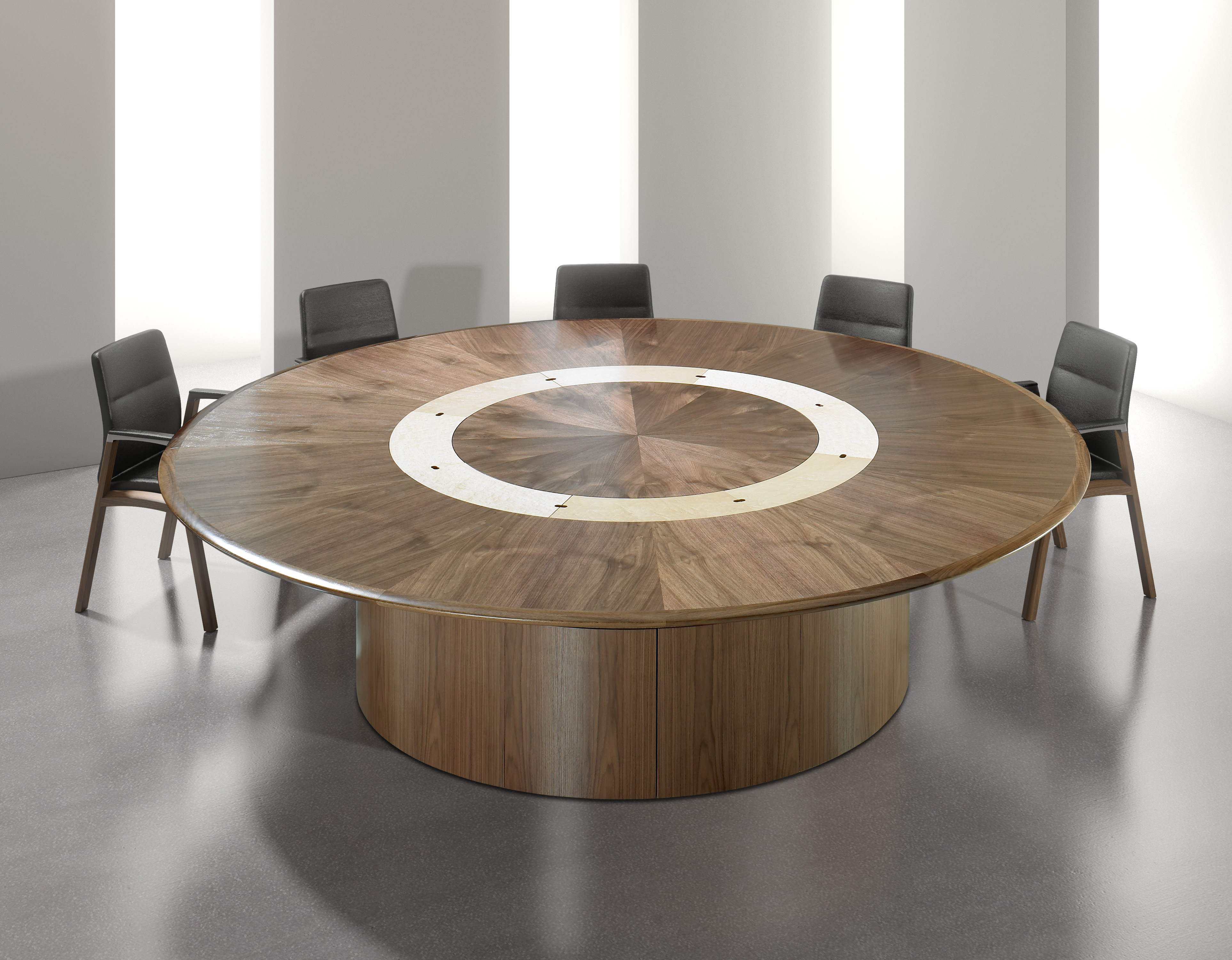 Circular Walnut Veneer Meeting Table with Cable Management Tiles