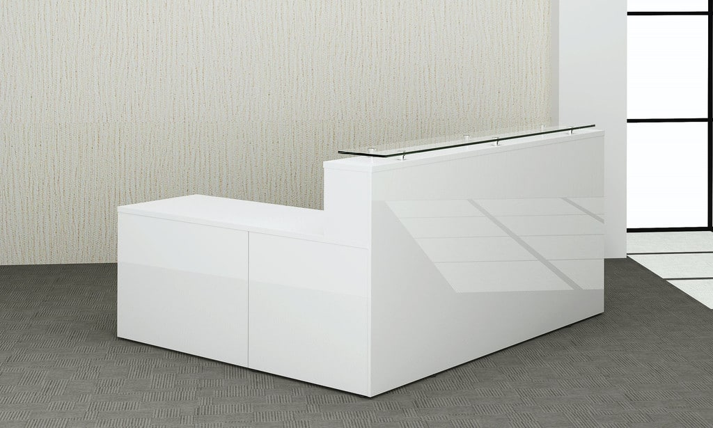 White Gloss Reception Counter Wave Office Ltd