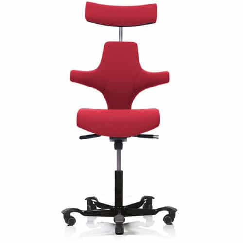 ... HAG Capisco Office Chair With Headrest Upholstered Red ...