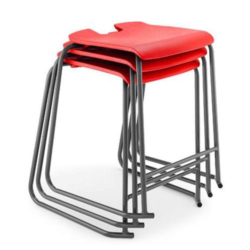 Hille-SE-Ergonomic-Backless-Stool-with-Foot Bar-Red