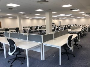 White Bench Desking with Grey Screens