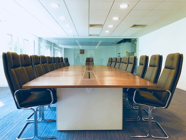 Box base panel end boardroom table