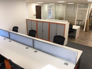 Offices with Bench Desks and Acrylic Screens