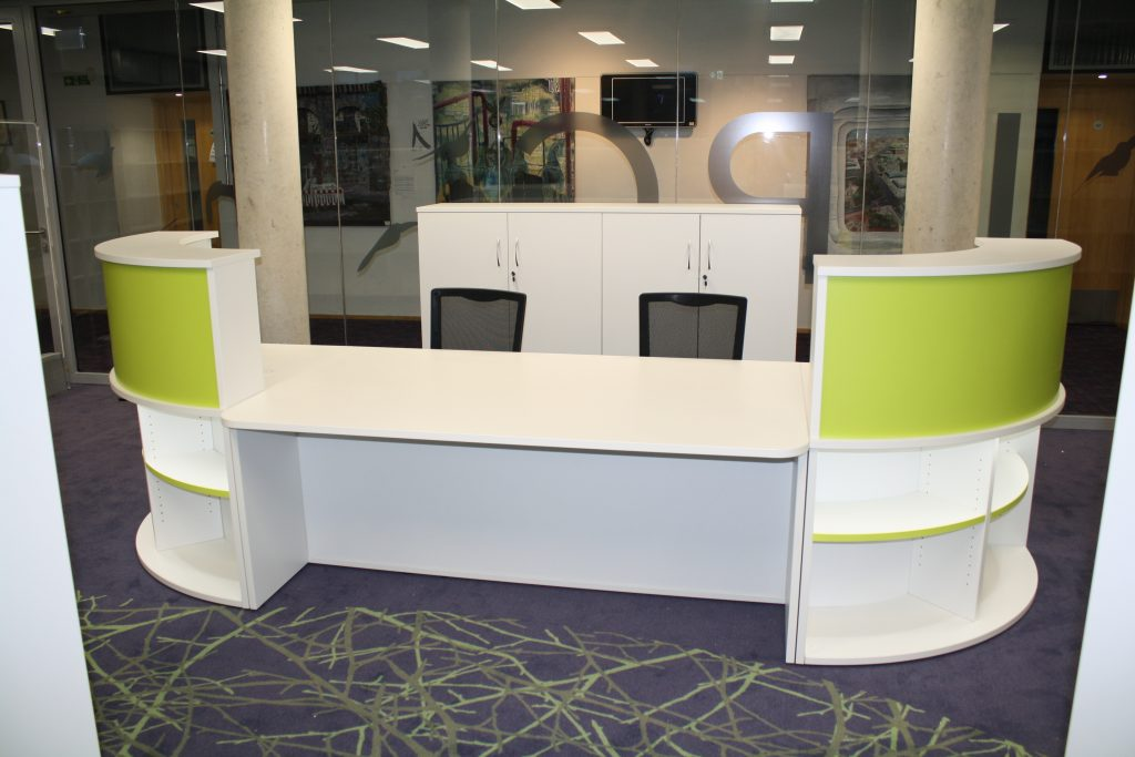 Library Reception Desk Lime and White