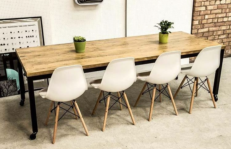 Industrial Style Welded Frame Table with Castors