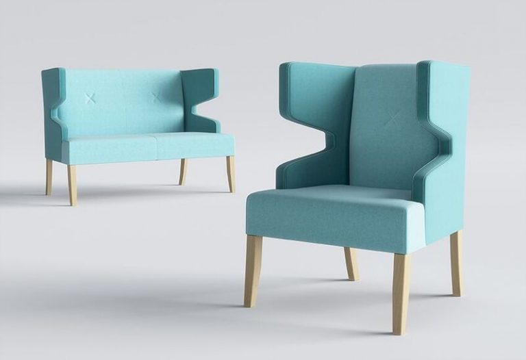 Izzey Modern Winged Reading Chair Blue
