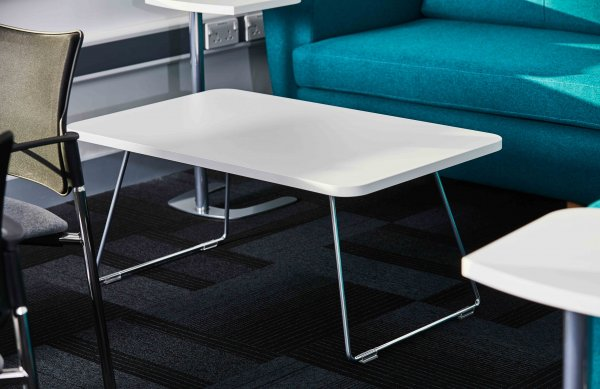 Silver Frame Sled Leg Rectangular Coffee Table White Top