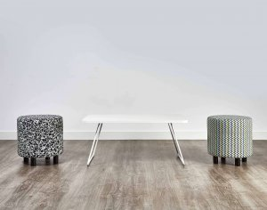 Silver Sled Leg Coffee Table with Stools