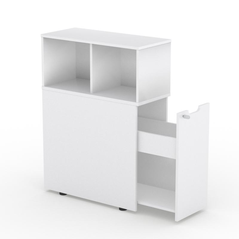 Light Tower Storage Cabinet with Open Shelving