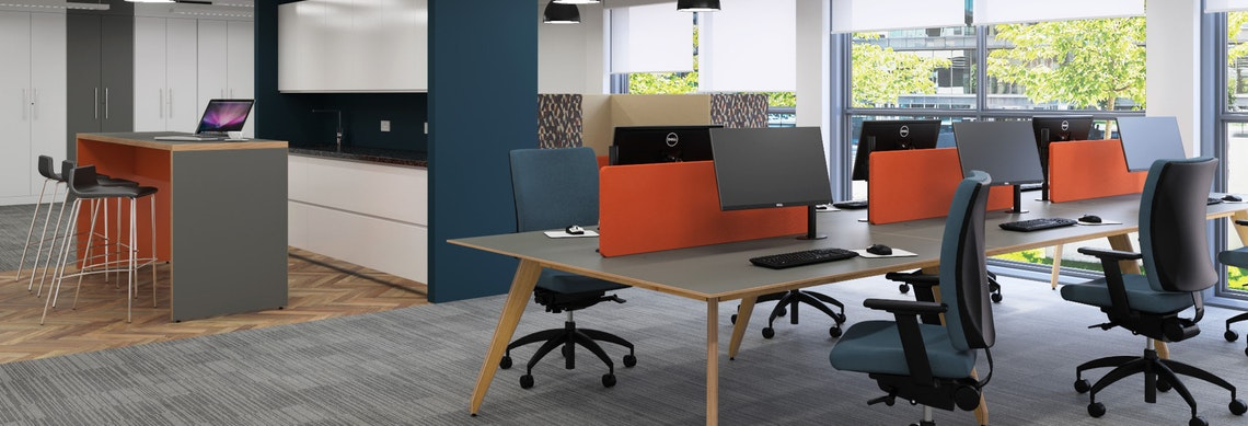 Ligni Bench Desks with Angled Legs